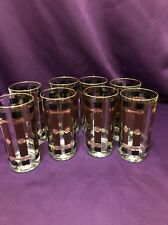 8 Vintage Mid Century Black And Brown Gold Tumblers