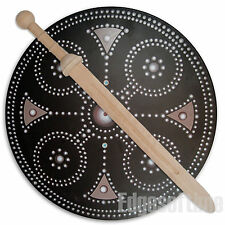 ROUND WOODEN CLAN BUCKLER SHIELD & WOODEN ROMAN GLADIATOR SWORD ROLE PLAY TOY