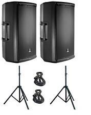 "JBL EON615 Active Speakers 15"" Powered 1000W Amplified, Stands & Cables -BUNDLE-"