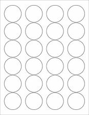 "6 SHEETS 1-2/3 ROUND BLANK WHITE MATTE STICKERS LABELS~8-1/2""x11 Label Sheets"