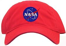 Nasa Meatball Insignia Embroidered Red Low Profile Baseball Cap Hat