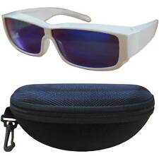 Andevan cover over polarized 100% UV blue lens w/ plastic white frm fit unisex