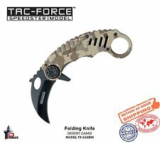 Tac Force Desert Camo Folding Knife Karambit Handle Finger Ring TF-620DM