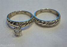 $175 14K WHITE GOLD GENUINE MARQUISE DIAMOND ENGAGEMENT AND WEDDING SET RINGS