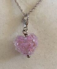 """Silver & Pink Murano Glass Heart Pendant On 16"""" Silver Chain - NEW RRP £25"""