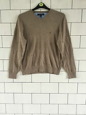 MENS BROWN TOMMY HILFIGER URBAN VINTAGE RETRO KNITTED JUMPER PULLOVER SIZE M