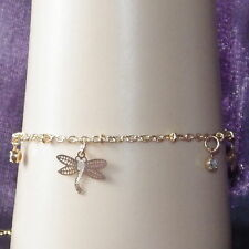 New Kids Gold Alloy Bracelet 2mm Rolo Link Chain Dangling Dragonflies & Crystals