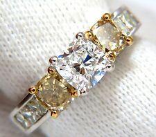 GIA certified 1.01ct Cushion cut diamond & 1.02ct fancy yellows ring 14k G/vvs2