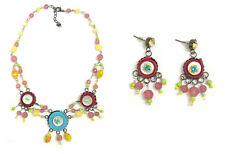 Authentic Italian Made Designer Fashion Costume Jewelry Set: Necklace & Earrings