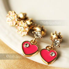 Juicy Couture Pink Flower dangle Heart  Stud Earrings two pairs special set
