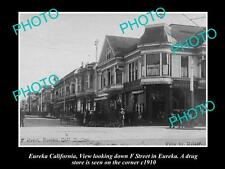 OLD LARGE HISTORIC PHOTO OF EUREKA CALIFORNIA, VIEW OF F STREET, DRUG STORE 1910