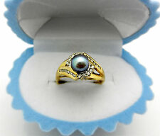Estate 10k Yellow Gold Natural Black Pearl with Diamond Accent Ring sz 9