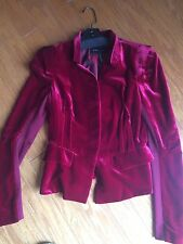BCBG MAX AZRIA Red Wine Velvet Button Ruffle Blazer Size S On Trend!
