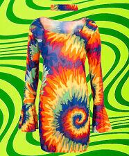 375✪  60er 70er Jahre Trompetenärmel Hippie Regenbogen Batik Kleid Flower-Power