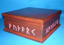 RUNES ALPHABET WOODEN BOX  180 x 180 x 80 mm Wicca Pagan Witch Goth NORSE