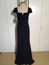 $2295 ALEXANDER MCQUEEN Long Black Cap sleeve Gown Dress Size 40 4 S NEW