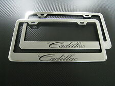 2 Brand New CADILLAC chromed METAL license plate frame +screw caps