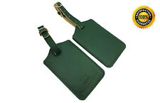 AVIMA® Premium 100% Genuine Handcrafted Leather Luggage Bag Tag 2 Pieces - Green