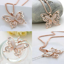 Women Fashion Jewelry Rose Gold Opal Butterfly Charm Pendant Long Chain Necklace