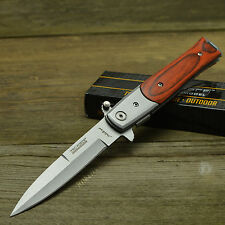 TAC FORCE Milano Stiletto Wood Handle Assisted Opening Linerlock Knife 428W