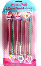 PACK OFSIX PRINCESS PENCILS WITH ERASERS - IDEAL PARTY BAG ITEM