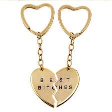 2 Pcs Best Bitches Best Friend & Love Forever Break Heart Pendant Necklace