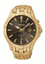 New Seiko SKA586 Kinetic Gold-Tone Stainless Steel Men's Brown Dial Watch