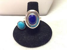 Sterling Silver Lapis And Turquoise Interchangeable Magnetic Ring-Size 7