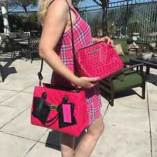 Betsey Johnson Satchel bag in bag Fuchsia bow pink black quilted shoulder tote