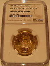 Bahamas 1967 Gold $50 NGC PF-65UC Adoption of New Constitution Santa Maria