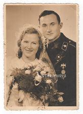 Original Hochzeits Portrait Foto Panzer Soldat / Panzermann / Orden 2.WK