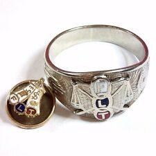 Vintage Odd Fellows FLT 10K White Gold Men's Ring Size 9.5 + BONUS IOOF PIN