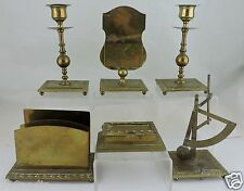 ANTIQUE BRASS DESK SET 6 AUSTRIA,CANDLESTICKS,SCALE,INKWELL,CARD/LETTER HOLDER