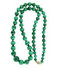 Vintage Malachite Graduated Bead Necklace Strand Sterling 6-14mm Round