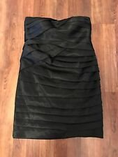 C. LUCE Black Textured Prom Cocktail Sheath Strapless Dress Sz S Layers