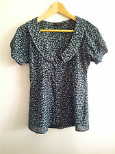 Smart Casual! Ted Baker size 1 navy & white floral top in excellent condition