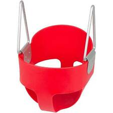 SWING SET STUFF HIGHBACK FULL BUCKET SEAT SWING RED WITH CHAINS AND HOOKS 0050