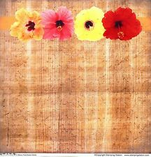 Stamping Station - Hibiscus Tropical Bamboo Bkgd Scrapbooking Paper 34285