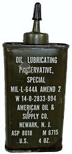 US Military WW2 American Oil & Supply 4oz Gun Oil Lubricating Preservative Can