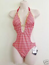 NWT BABY PHAT 1 PC HALTER  MONOKINI SWIMWEAR SWIMSUIT S SMALL RED WHITE.STRIPE.