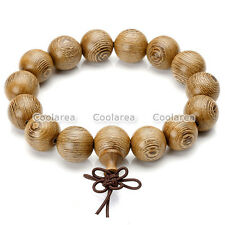 Men's 15mm Natural Wenge Wood Wrist Tibetan Buddhist Beads Paryer Mala Bracelet