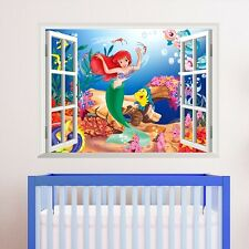 Cute Little Mermaid Princess Wall Sticker 3D Window PVC Art Kids Room Decals