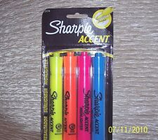 HIGHLIGHTERS: ONE -PACK SET 4 EA-  ORANGE-PINK-BLUE-YELLOW - ACCENT~ SHARPIE - B