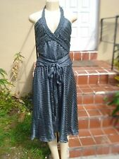 Alexandra Vidal (PROJECT RUNWAY) GRAY SILK STRIPED HALTER COCKTAIL DRESS Sz 10