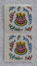 Sandylion BIRTHDAY CAKE & CONFETTI Strip of 2 Sqs RETIRED Stickers LIMITED