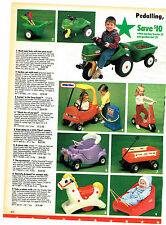 1989 AD TOYS,LITTLE TIKES TRACTOR AND GARDEN CART COZY COUPE GAS PUMP WAGON SLED
