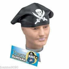 BLACK PIRATE COSTUME BANDANA HAT FANCY DRESS SKULL AND SWORDS HALLOWEEN SCARF BN