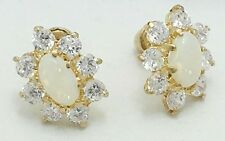 Genuine Australian OPALS & WHITE SAPPHIRE 14k Yellow Gold Earrings screw Backs
