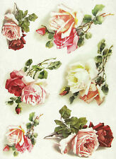 Ricepaper / Decoupage paper, Scrapbooking Sheets White and Red Roses