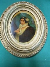 "Beautiful ANTIQUE Reverse Painting "" Victorian Lady "" Oval Wood Frame.....SALE"
